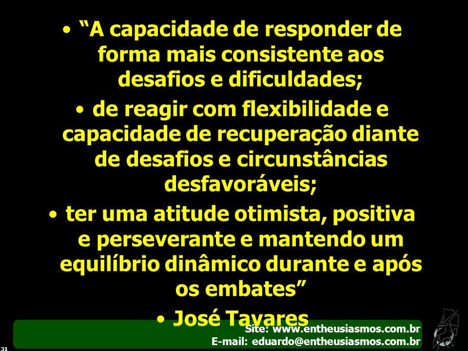 Site: www.entheusiasmos.com.br E-mail: eduardo@entheusiasmos.com.br 31 A capacidade de responder de forma mais consistente aos desafios e dificuldades