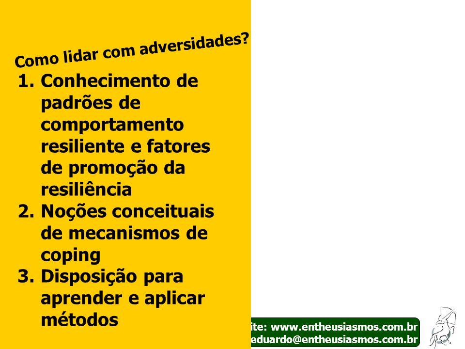 Site: www.entheusiasmos.com.br E-mail: eduardo@entheusiasmos.com.br 32 Como lidar com adversidades? 1.Conhecimento de padrões de comportamento resilie