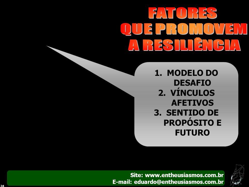 Site: www.entheusiasmos.com.br E-mail: eduardo@entheusiasmos.com.br 34 1.MODELO DO DESAFIO 2.VÍNCULOS AFETIVOS 3.SENTIDO DE PROPÓSITO E FUTURO