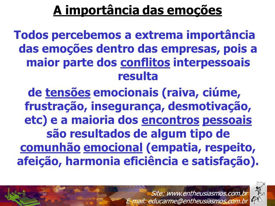 Site: www.entheusiasmos.com.br E-mail: educarme@entheusiasmos.com.br A importância das emoções Todos percebemos a extrema importância das emoções dent