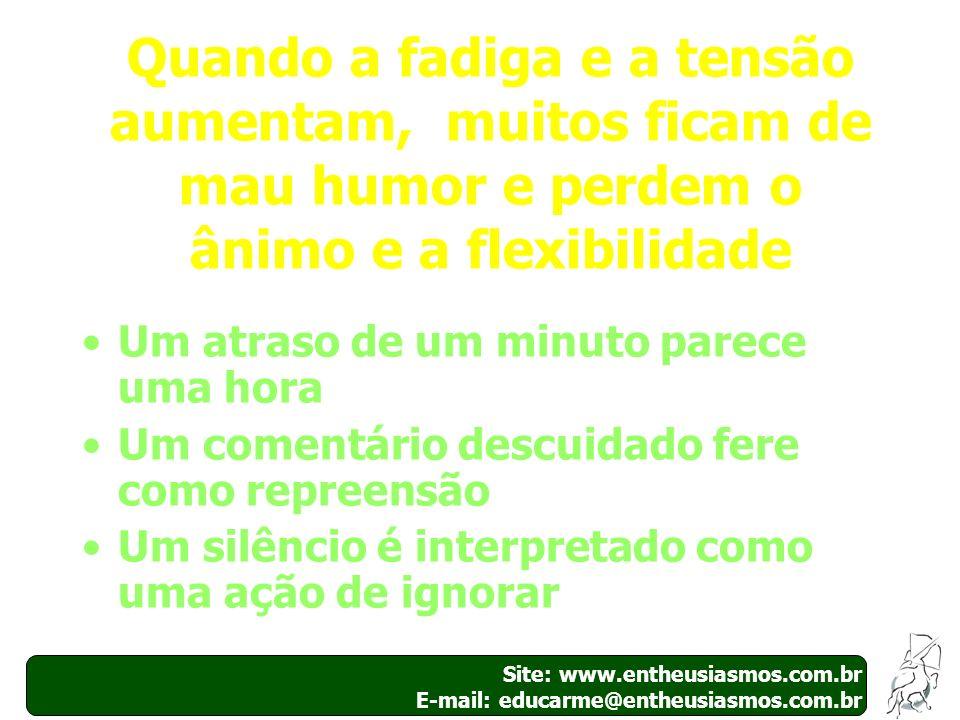 40 Site: www.entheusiasmos.com.br E-mail: educarme@entheusiasmos.com.br Quando a fadiga e a tensão aumentam, muitos ficam de mau humor e perdem o ânim