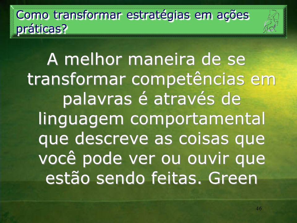 46 Como transformar estratégias em ações práticas? A melhor maneira de se transformar competências em palavras é através de linguagem comportamental q