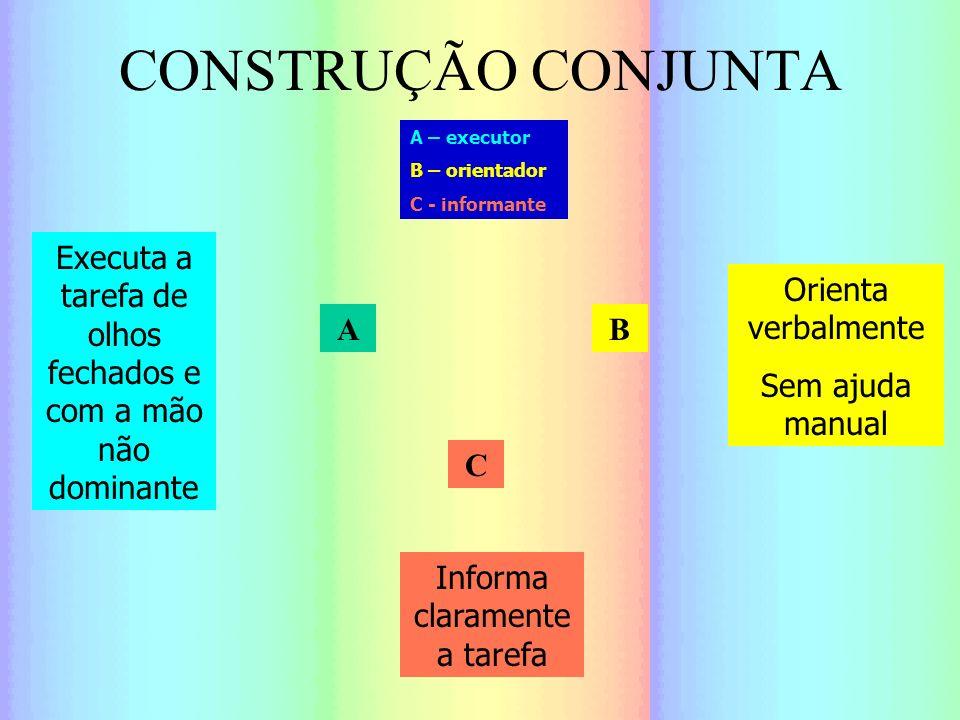 CONSTRUÇÃO CONJUNTA A C B Informa claramente a tarefa Executa a tarefa de olhos fechados e com a mão não dominante Orienta verbalmente Sem ajuda manua