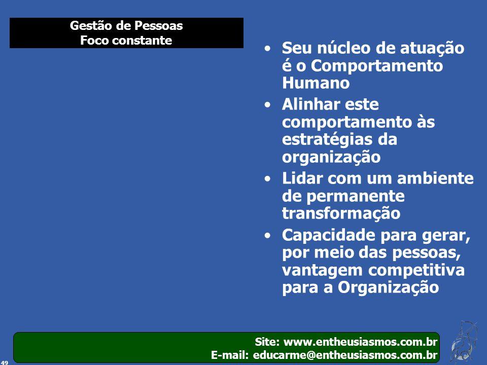 Site: www.entheusiasmos.com.br E-mail: educarme@entheusiasmos.com.br 49 Seu núcleo de atuação é o Comportamento Humano Alinhar este comportamento às e