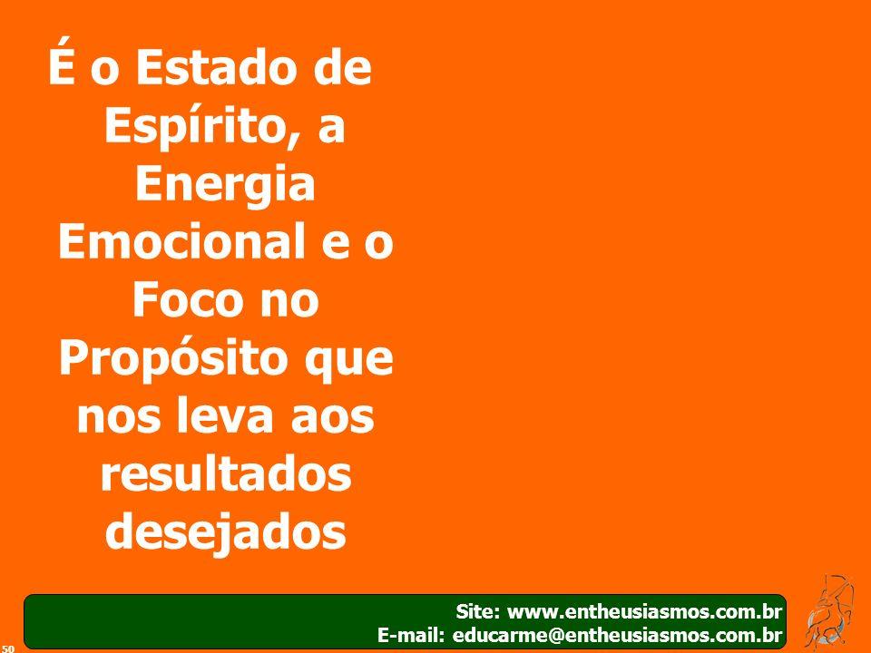 50 Site: www.entheusiasmos.com.br E-mail: educarme@entheusiasmos.com.br É o Estado de Espírito, a Energia Emocional e o Foco no Propósito que nos leva