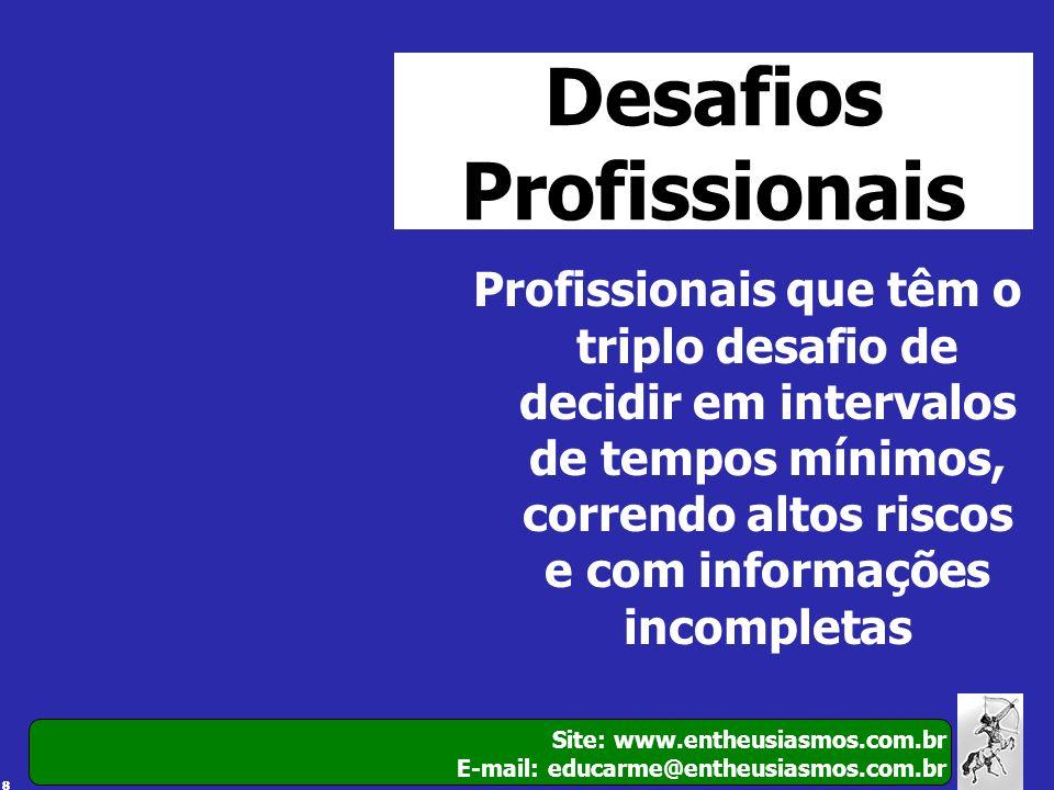 88 Site: www.entheusiasmos.com.br E-mail: educarme@entheusiasmos.com.br Desafios Profissionais Profissionais que têm o triplo desafio de decidir em in