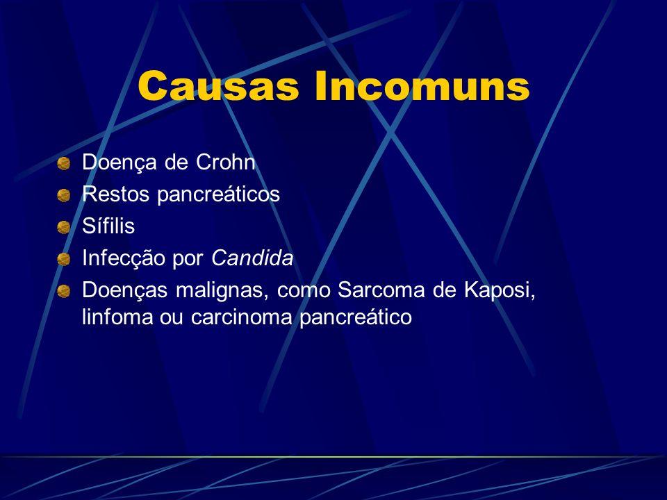 Causas Incomuns Doença de Crohn Restos pancreáticos Sífilis Infecção por Candida Doenças malignas, como Sarcoma de Kaposi, linfoma ou carcinoma pancre