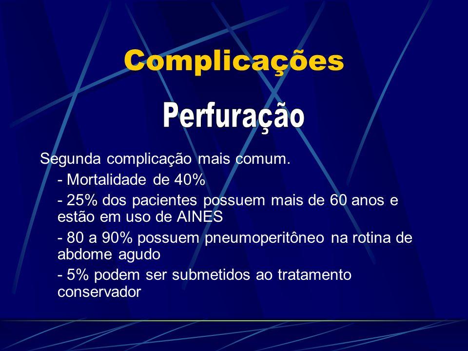 Complicações Segunda complicação mais comum. - Mortalidade de 40% - 25% dos pacientes possuem mais de 60 anos e estão em uso de AINES - 80 a 90% possu