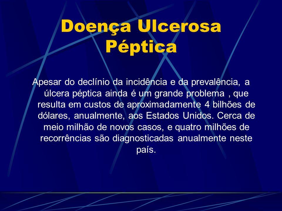 Doença Ulcerosa Péptica Apesar do declínio da incidência e da prevalência, a úlcera péptica ainda é um grande problema, que resulta em custos de aprox