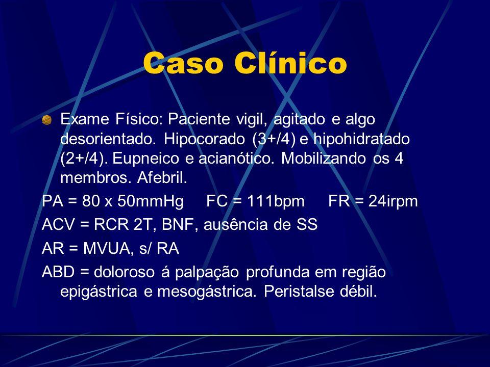 Caso Clínico Exame Físico: Paciente vigil, agitado e algo desorientado. Hipocorado (3+/4) e hipohidratado (2+/4). Eupneico e acianótico. Mobilizando o
