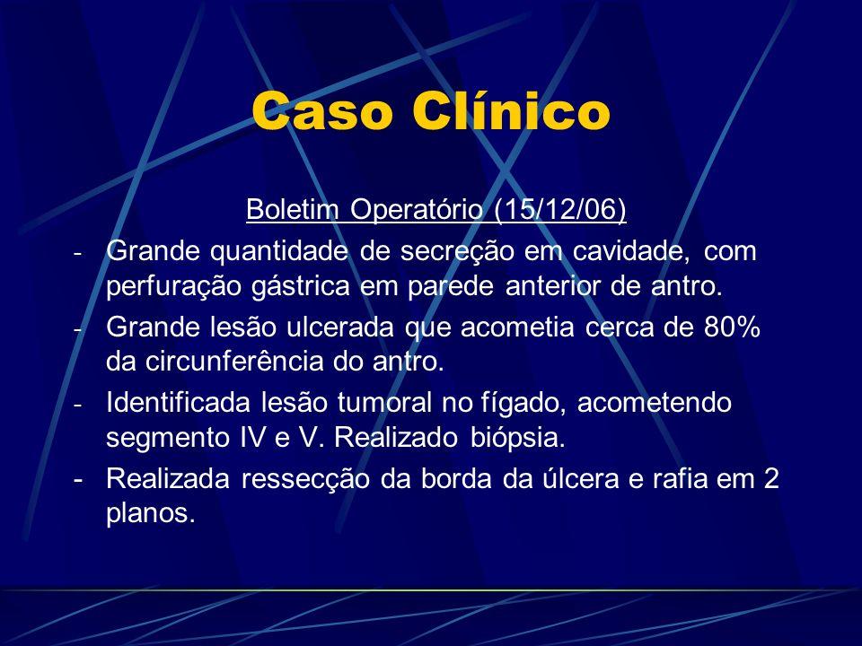 Caso Clínico Boletim Operatório (15/12/06) - Grande quantidade de secreção em cavidade, com perfuração gástrica em parede anterior de antro. - Grande
