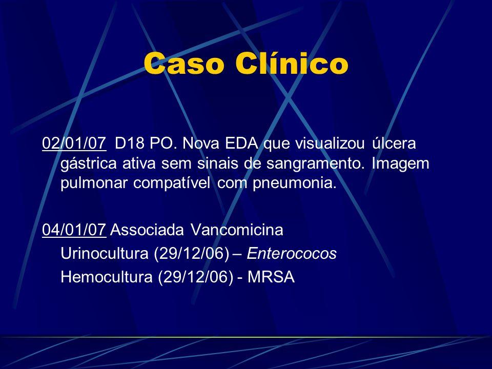Caso Clínico 02/01/07 D18 PO. Nova EDA que visualizou úlcera gástrica ativa sem sinais de sangramento. Imagem pulmonar compatível com pneumonia. 04/01