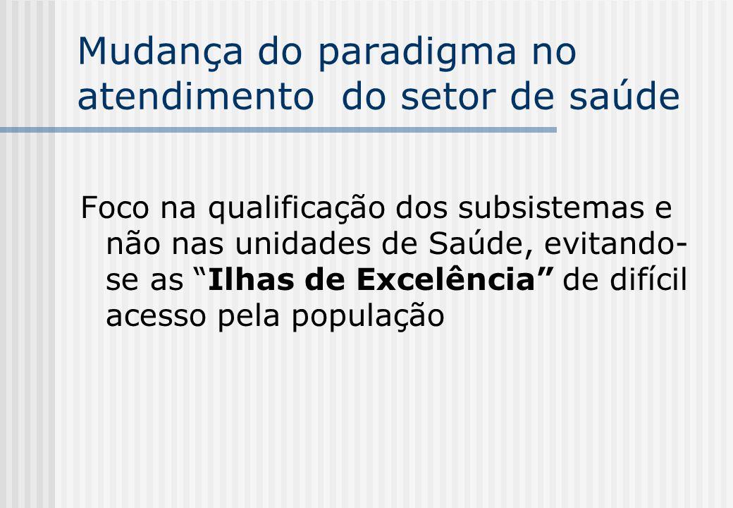 Mudança do paradigma no atendimento do setor de saúde Foco na qualificação dos subsistemas e não nas unidades de Saúde, evitando- se as Ilhas de Excel