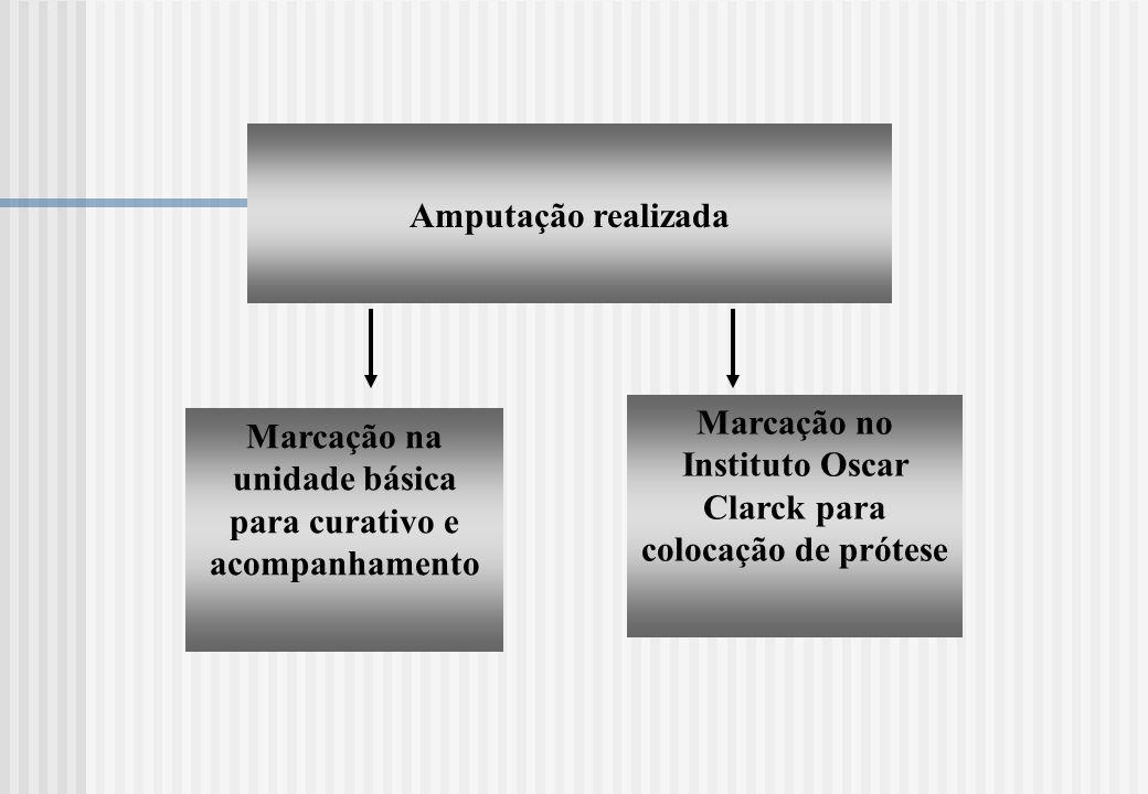 Amputação realizada Marcação na unidade básica para curativo e acompanhamento Marcação no Instituto Oscar Clarck para colocação de prótese