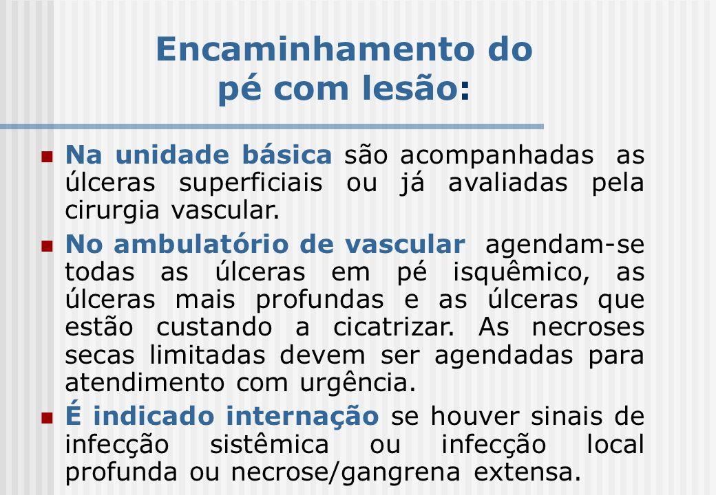 Encaminhamento do pé com lesão: Na unidade básica são acompanhadas as úlceras superficiais ou já avaliadas pela cirurgia vascular. No ambulatório de v