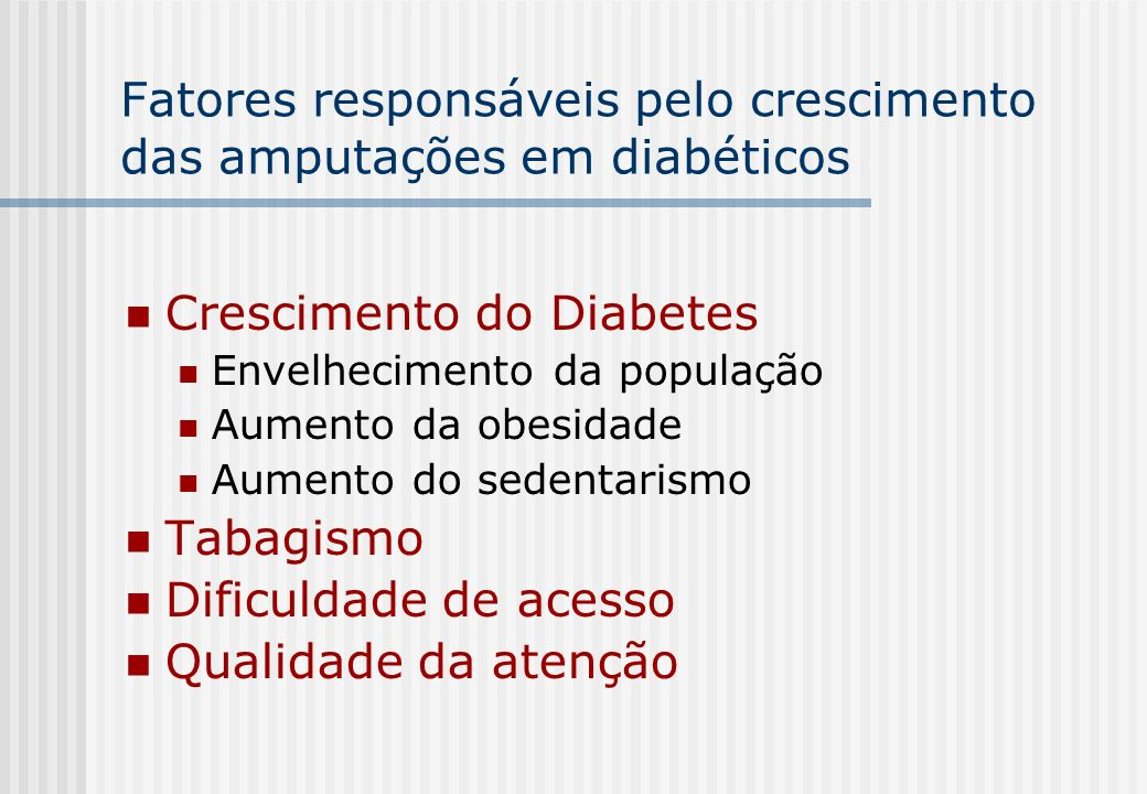 Fatores responsáveis pelo crescimento das amputações em diabéticos Crescimento do Diabetes Envelhecimento da população Aumento da obesidade Aumento do