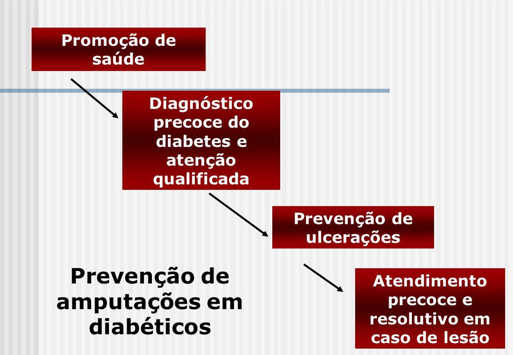 Promoção de saúde Diagnóstico precoce do diabetes e atenção qualificada Prevenção de ulcerações Atendimento precoce e resolutivo em caso de lesão Prev