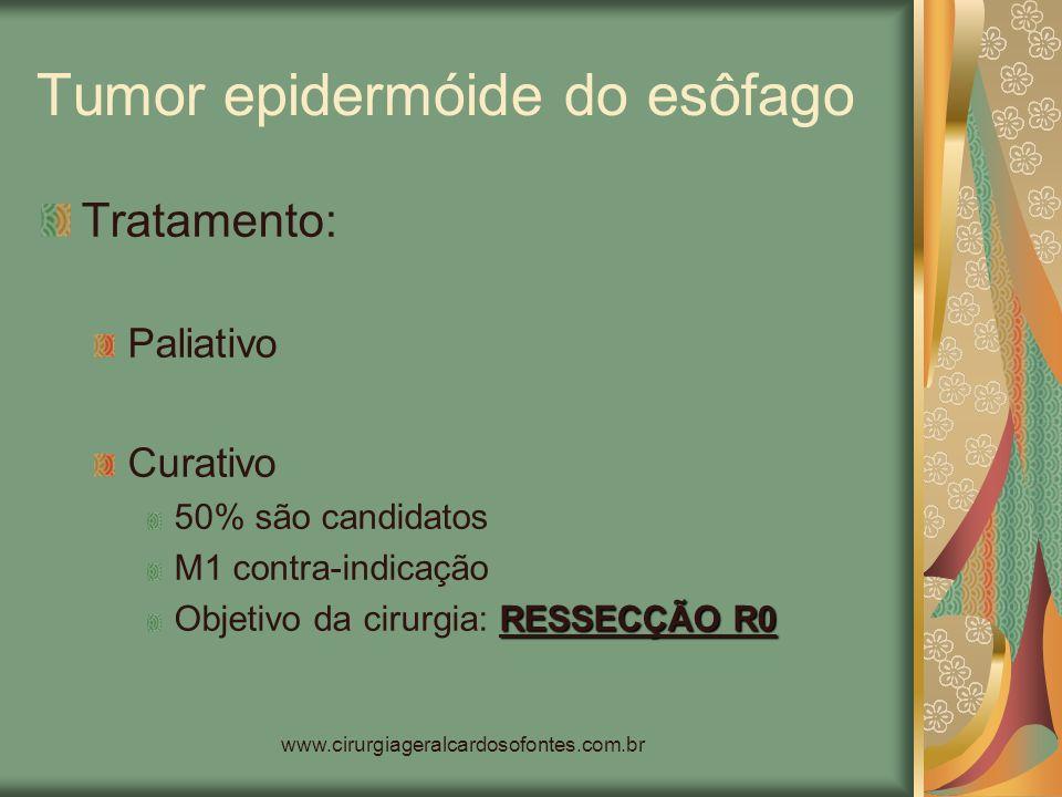 www.cirurgiageralcardosofontes.com.br Tumor epidermóide do esôfago Tratamento: Paliativo Curativo 50% são candidatos M1 contra-indicação RESSECÇÃO R0