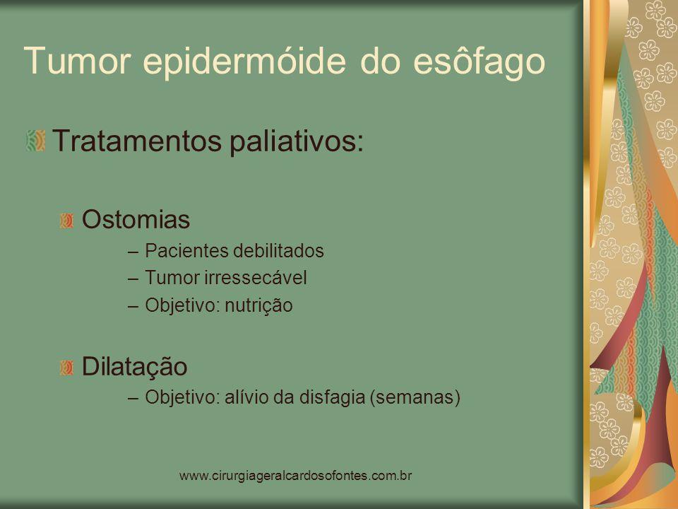 www.cirurgiageralcardosofontes.com.br Tumor epidermóide do esôfago Tratamentos paliativos: Ostomias –Pacientes debilitados –Tumor irressecável –Objeti