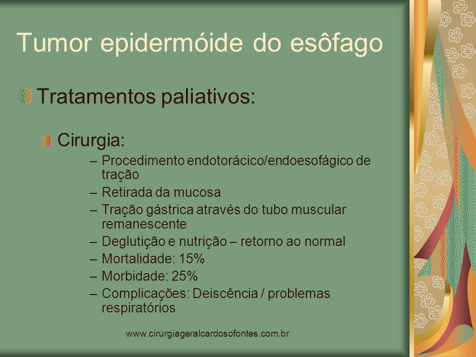 www.cirurgiageralcardosofontes.com.br Tumor epidermóide do esôfago Tratamentos paliativos: Cirurgia: –Procedimento endotorácico/endoesofágico de traçã