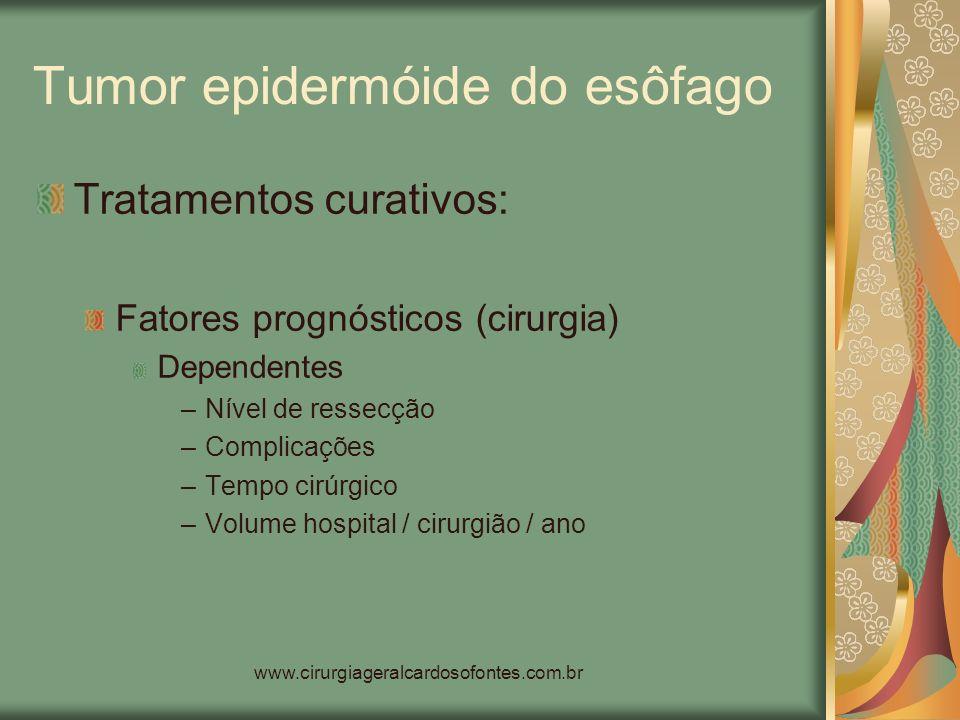 www.cirurgiageralcardosofontes.com.br Tumor epidermóide do esôfago Tratamentos curativos: Fatores prognósticos (cirurgia) Dependentes –Nível de ressec