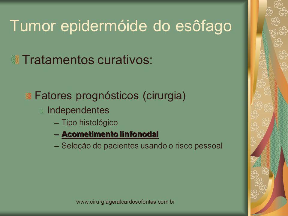 www.cirurgiageralcardosofontes.com.br Tumor epidermóide do esôfago Tratamentos curativos: Fatores prognósticos (cirurgia) Independentes –Tipo histológ