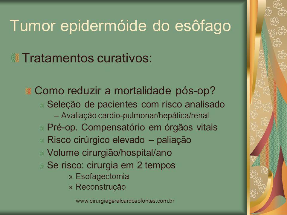 www.cirurgiageralcardosofontes.com.br Tumor epidermóide do esôfago Tratamentos curativos: Como reduzir a mortalidade pós-op? Seleção de pacientes com