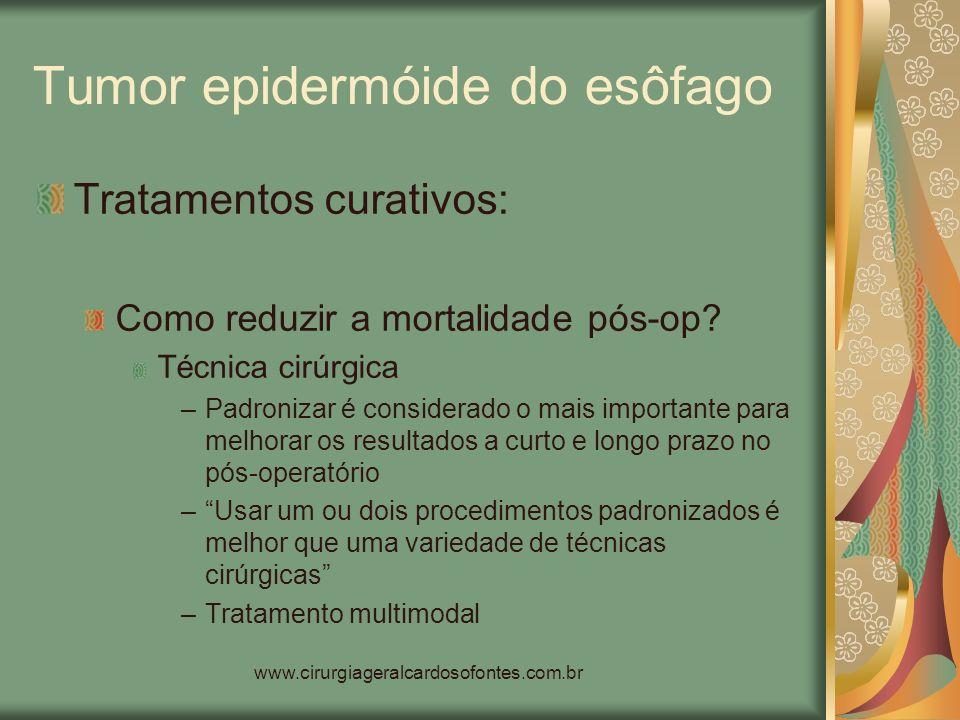www.cirurgiageralcardosofontes.com.br Tumor epidermóide do esôfago Tratamentos curativos: Como reduzir a mortalidade pós-op? Técnica cirúrgica –Padron