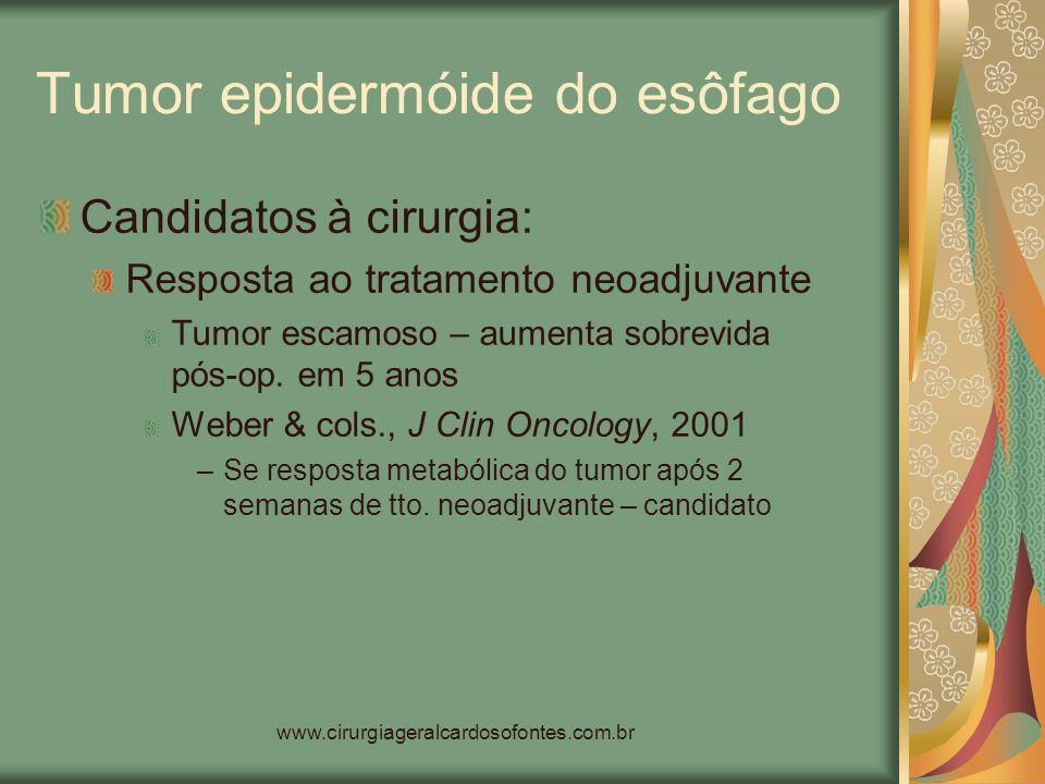 www.cirurgiageralcardosofontes.com.br Tumor epidermóide do esôfago Candidatos à cirurgia: Resposta ao tratamento neoadjuvante Tumor escamoso – aumenta