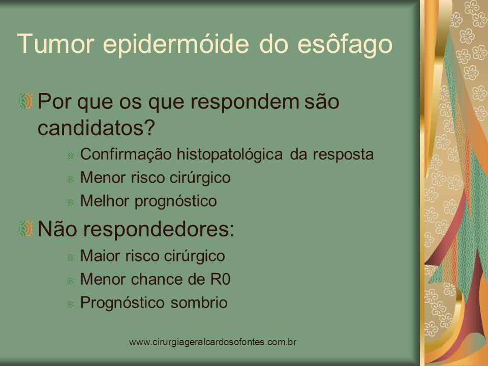 www.cirurgiageralcardosofontes.com.br Tumor epidermóide do esôfago Por que os que respondem são candidatos? Confirmação histopatológica da resposta Me