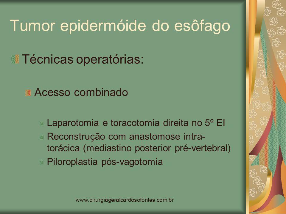 www.cirurgiageralcardosofontes.com.br Tumor epidermóide do esôfago Técnicas operatórias: Acesso combinado Laparotomia e toracotomia direita no 5º EI R