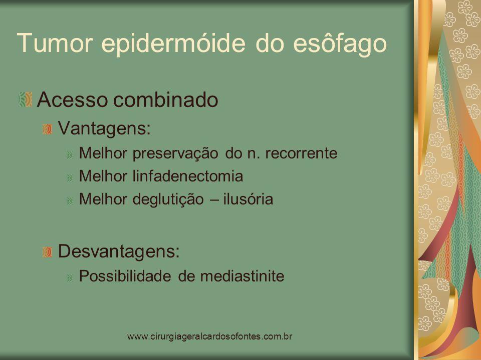 www.cirurgiageralcardosofontes.com.br Tumor epidermóide do esôfago Acesso combinado Vantagens: Melhor preservação do n. recorrente Melhor linfadenecto