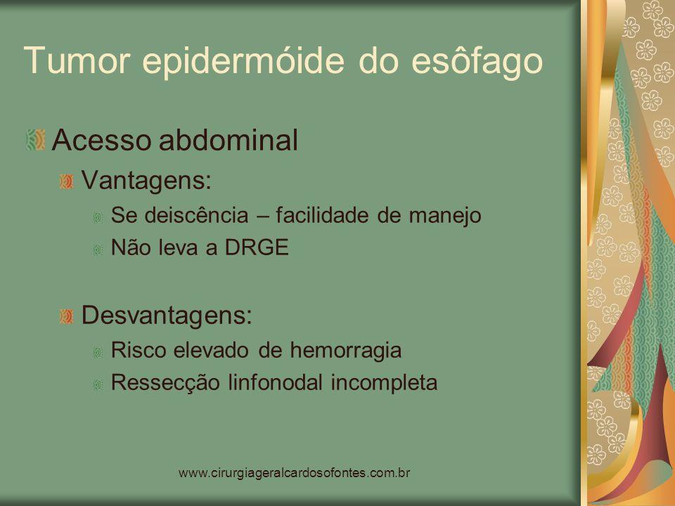 www.cirurgiageralcardosofontes.com.br Tumor epidermóide do esôfago Acesso abdominal Vantagens: Se deiscência – facilidade de manejo Não leva a DRGE De