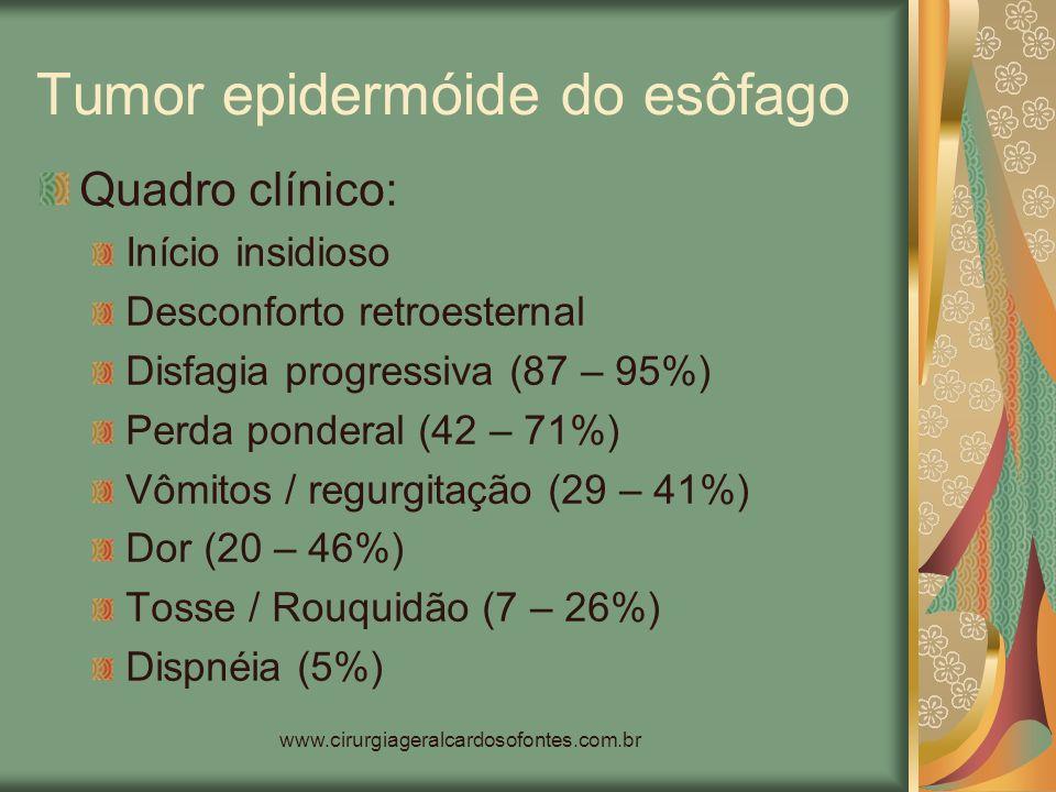 www.cirurgiageralcardosofontes.com.br Tumor epidermóide do esôfago Quadro clínico: Início insidioso Desconforto retroesternal Disfagia progressiva (87