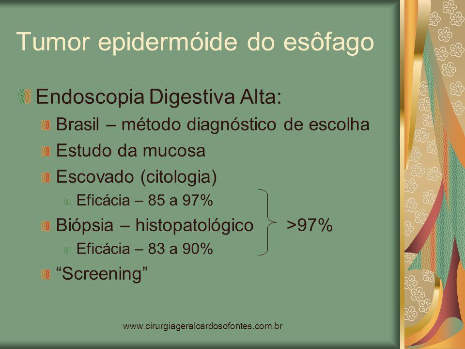 www.cirurgiageralcardosofontes.com.br Tumor epidermóide do esôfago Endoscopia Digestiva Alta: Brasil – método diagnóstico de escolha Estudo da mucosa