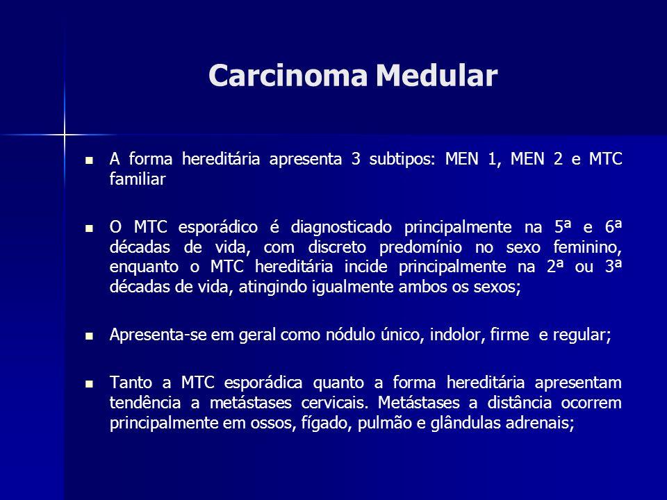 Carcinoma Medular A forma hereditária apresenta 3 subtipos: MEN 1, MEN 2 e MTC familiar O MTC esporádico é diagnosticado principalmente na 5ª e 6ª déc