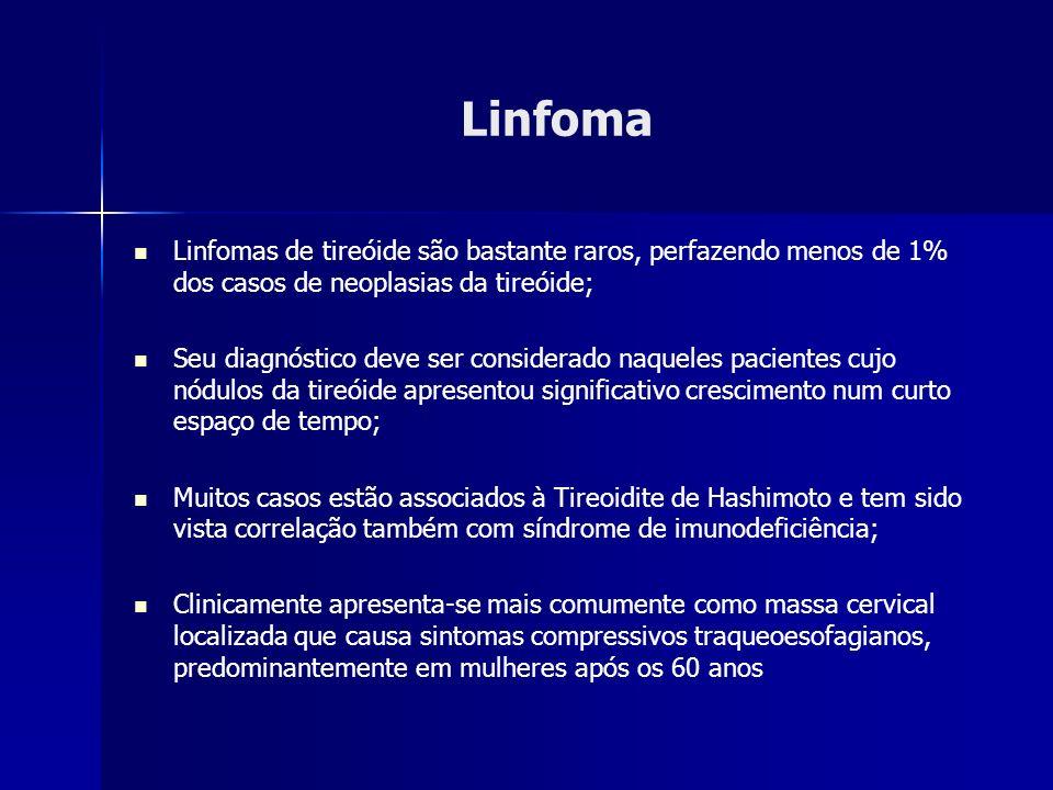 Linfoma Linfomas de tireóide são bastante raros, perfazendo menos de 1% dos casos de neoplasias da tireóide; Seu diagnóstico deve ser considerado naqu