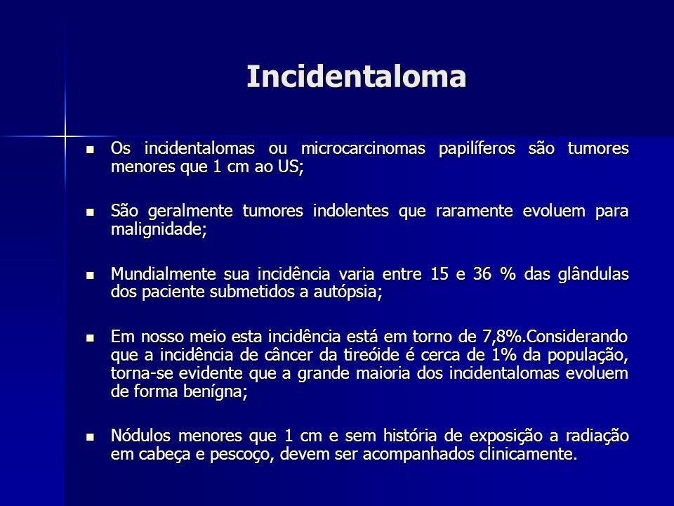 Adenoma tóxico Nódulos isolados, bem encapsulados e geralmente maiores de 3cm; Nódulos isolados, bem encapsulados e geralmente maiores de 3cm; Sua incidência varia bastante (2% – 23%), sendo muito mais frequente em regiões pobres em iodo; Sua incidência varia bastante (2% – 23%), sendo muito mais frequente em regiões pobres em iodo; Constitui menos de 1% dos casos de hipertireoidismo; Constitui menos de 1% dos casos de hipertireoidismo; Pacientes geralmente se apresentam com níveis de T3 eT4 livre elevados e TSH suprimido; Pacientes geralmente se apresentam com níveis de T3 eT4 livre elevados e TSH suprimido; A diagnóstico é confirmado por mapeamento de raioisótopos com iodo radioativo ou tecnécio; A diagnóstico é confirmado por mapeamento de raioisótopos com iodo radioativo ou tecnécio;