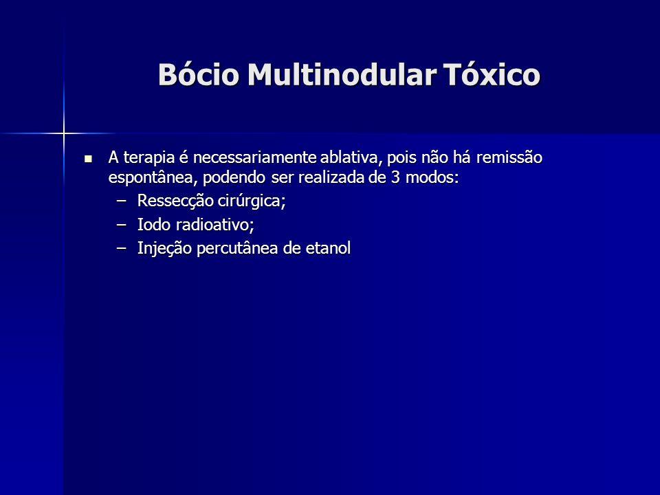 Bócio Multinodular Tóxico A terapia é necessariamente ablativa, pois não há remissão espontânea, podendo ser realizada de 3 modos: A terapia é necessa