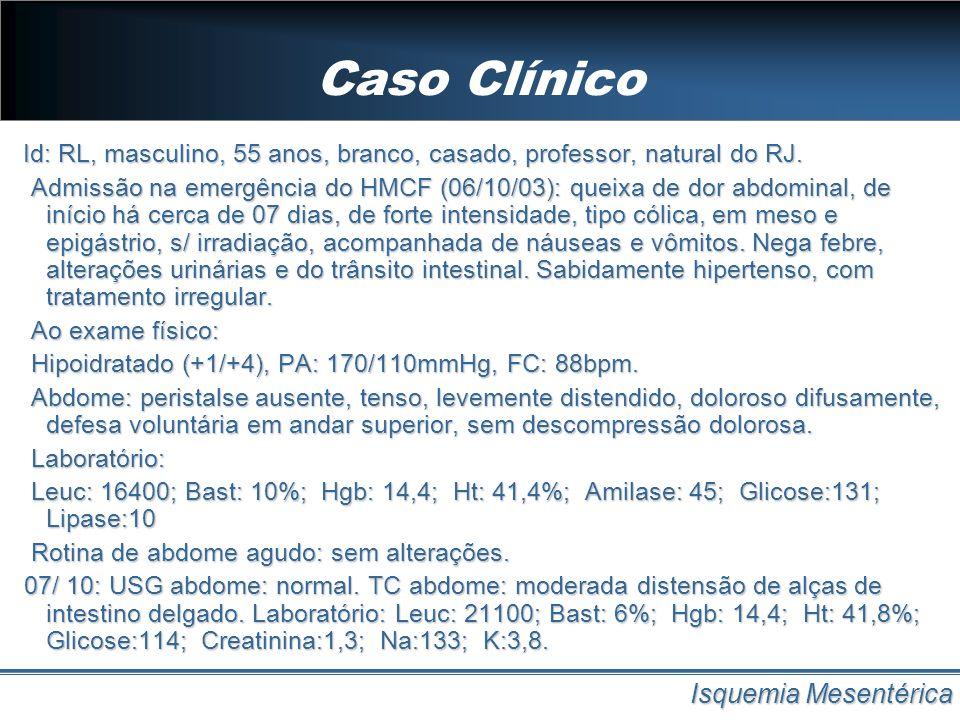 Etiologia Isquemia Mesentérica EtiologiaPrevalência Êmbolo em AMS50% Trombose em MAS25% Isquemia Mesentérica Não-Oclusiva (IMNO) 20 – 15% Trombose em VMS10%