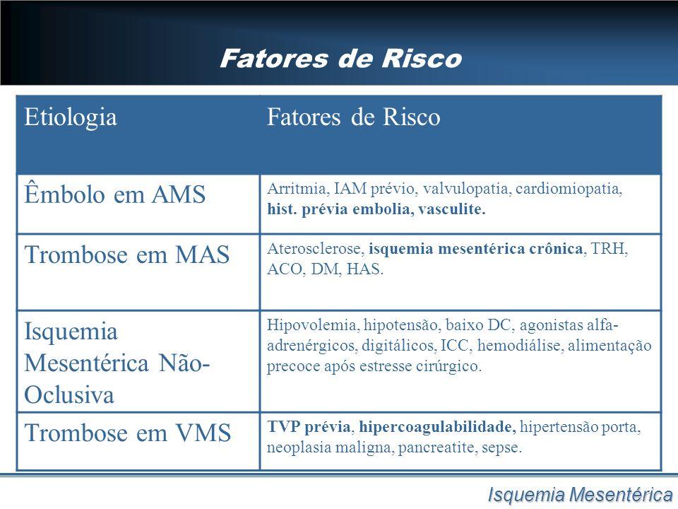 Fatores de Risco Isquemia Mesentérica EtiologiaFatores de Risco Êmbolo em AMS Arritmia, IAM prévio, valvulopatia, cardiomiopatia, hist. prévia embolia