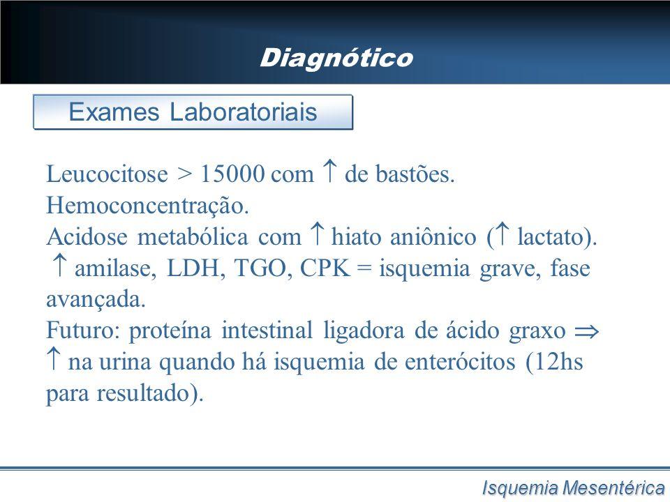 Diagnótico Isquemia Mesentérica Leucocitose > 15000 com de bastões. Hemoconcentração. Acidose metabólica com hiato aniônico ( lactato). amilase, LDH,