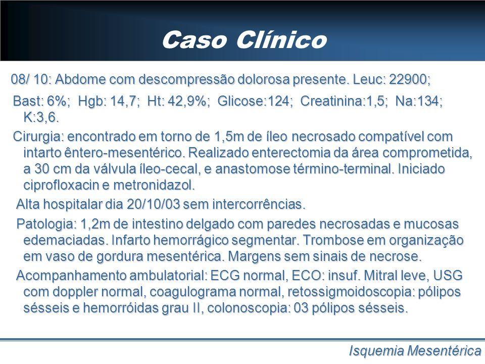 Caso Clínico Isquemia Mesentérica 08/ 10: Abdome com descompressão dolorosa presente. Leuc: 22900; Bast: 6%; Hgb: 14,7; Ht: 42,9%; Glicose:124; Creati