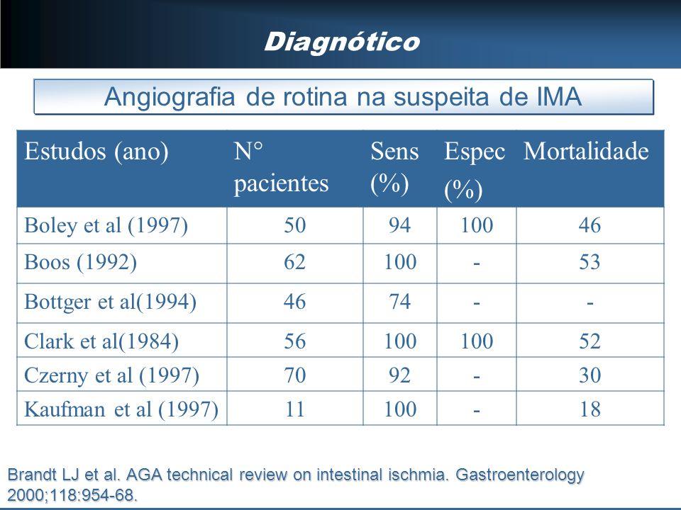 Diagnótico Angiografia de rotina na suspeita de IMA Estudos (ano)N° pacientes Sens (%) Espec (%) Mortalidade Boley et al (1997)509410046 Boos (1992)62