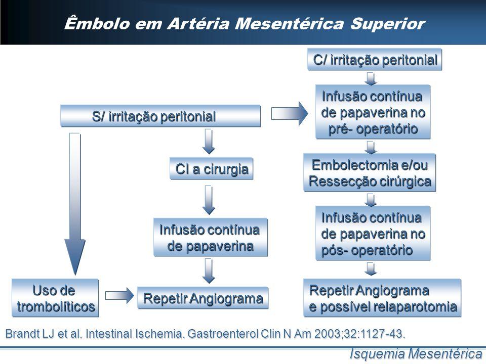 Êmbolo em Artéria Mesentérica Superior Isquemia Mesentérica S/ irritação peritonial S/ irritação peritonial Infusão contínua de papaverina Repetir Ang