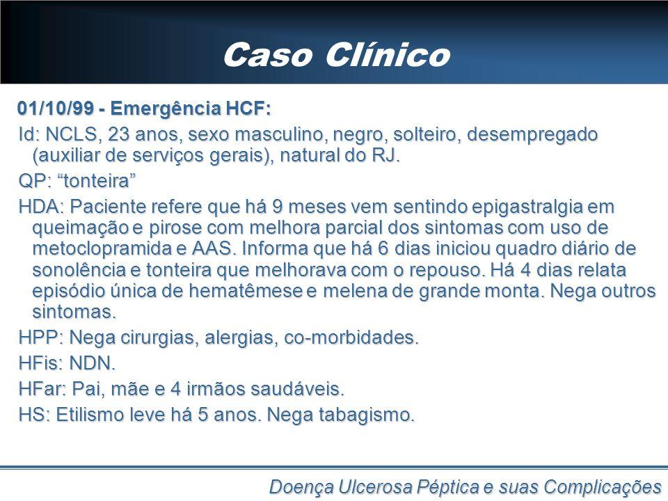 Caso Clínico 01/10/99 - Emergência HCF: Id: NCLS, 23 anos, sexo masculino, negro, solteiro, desempregado (auxiliar de serviços gerais), natural do RJ.