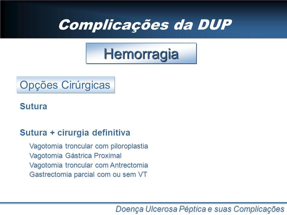 Complicações da DUP Doença Ulcerosa Péptica e suas Complicações Hemorragia Opções Cirúrgicas Sutura Sutura + cirurgia definitiva Vagotomia troncular c