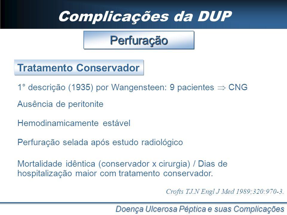 Complicações da DUP Doença Ulcerosa Péptica e suas Complicações Perfuração 1° descrição (1935) por Wangensteen: 9 pacientes CNG Tratamento Conservador