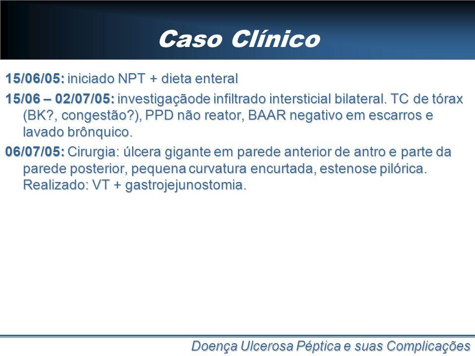 Caso Clínico 15/06/05: iniciado NPT + dieta enteral 15/06 – 02/07/05: investigaçãode infiltrado intersticial bilateral. TC de tórax (BK?, congestão?),