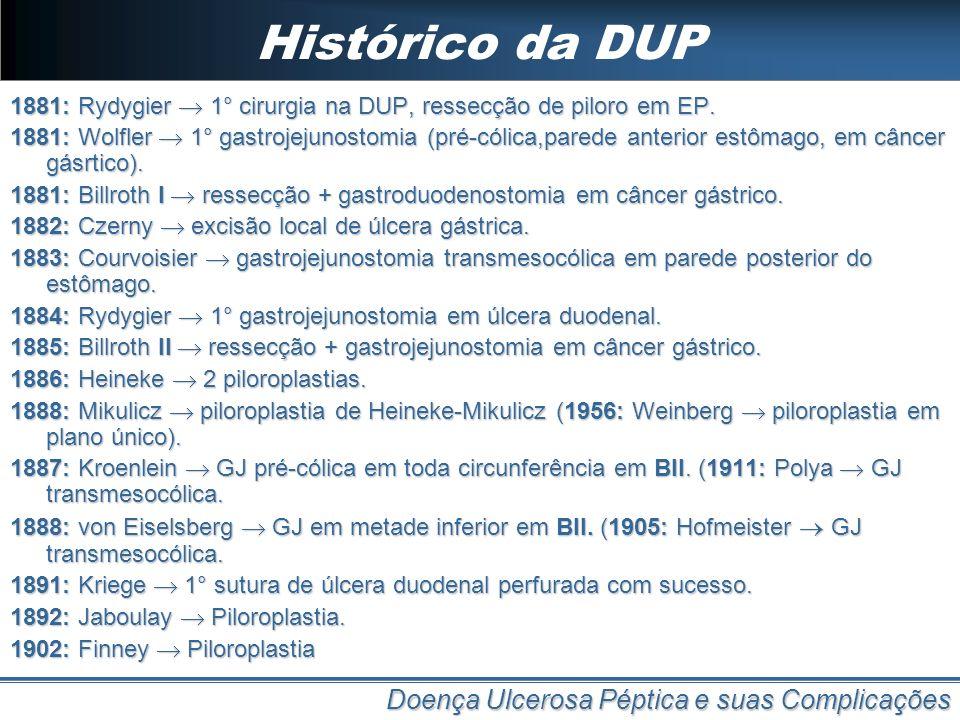 Histórico da DUP 1881: Rydygier 1° cirurgia na DUP, ressecção de piloro em EP. 1881: Wolfler 1° gastrojejunostomia (pré-cólica,parede anterior estômag